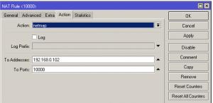 MikroTik - konfiguracja wpisu firewall