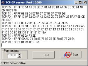 MICRA - okno serwera transmisja danych
