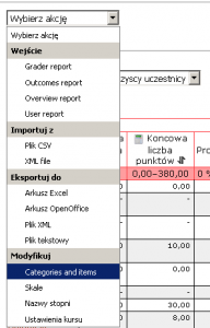 Moodle: rozwijane menu dziennika ocen